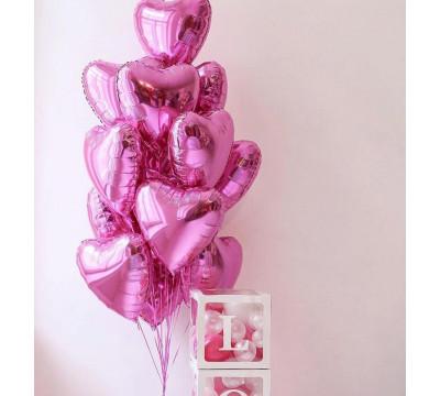 15 розовых сердец для любимой