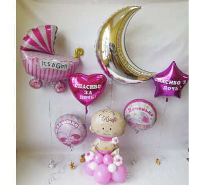 Ассорти из фольгированных шаров на выписку девочки