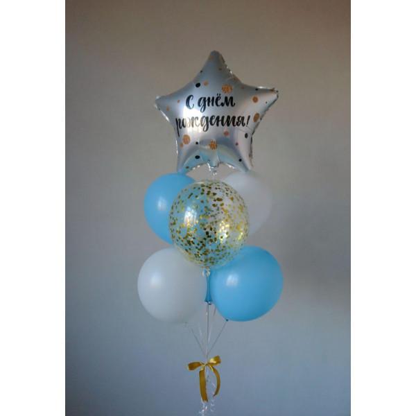 Бело-голубой фонтан ко Дню Рождения