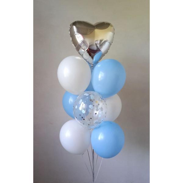 Бело-голубой фонтан с сердцем