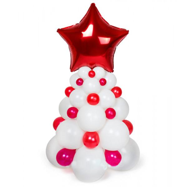 Красно-белая елка из воздушных шаров