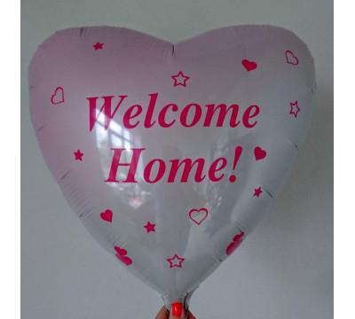 """Бело-розовое фольгированное сердце с надписью """"Welcome Home"""", 45 см"""