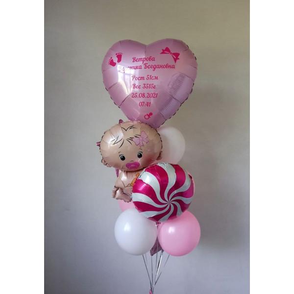 Бело-розовый фонтан на выписку девочки