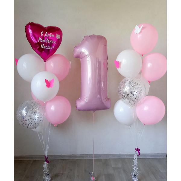 Бело-розовый набор на годик