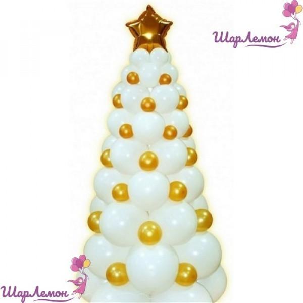 Бело-золотая елка из воздушных шаров