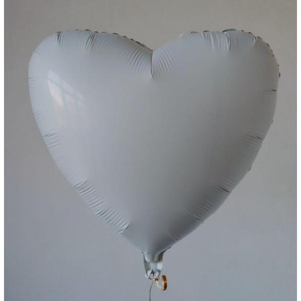 Белое фольгированное сердце, 45 см