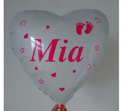 Белое фольгированное сердце с именем новорожденной, 45 см