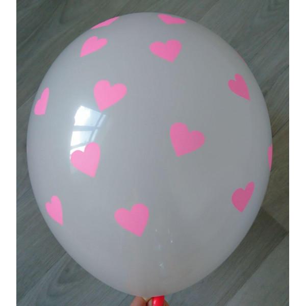 """Белый латексный шар """"Сердца"""", розовые"""