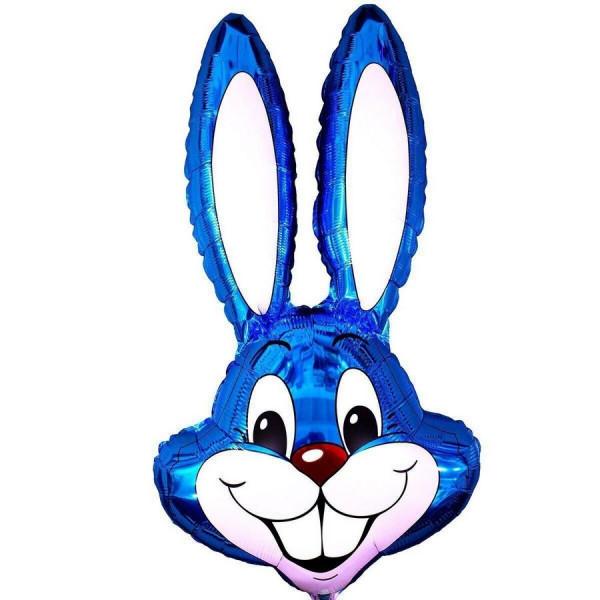 """Большая фольгированная фигура """"Голова кролика"""", синяя"""