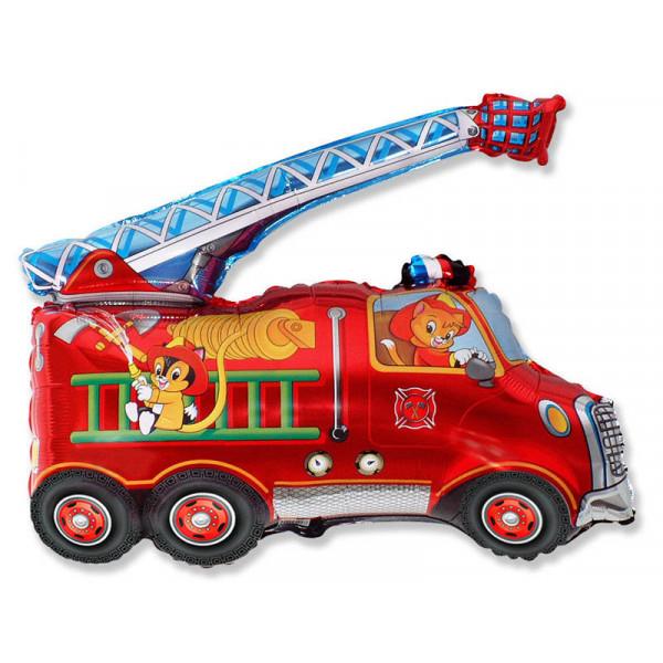 """Большая фольгированная фигура """"Пожарная машина со зверями"""""""