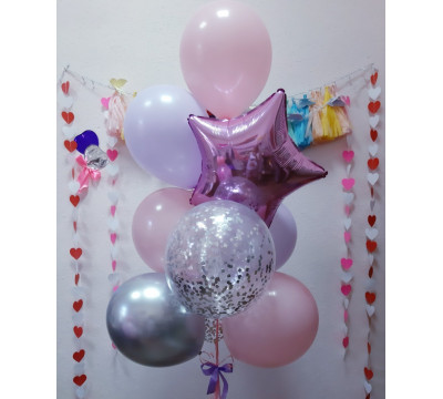"""Букет из шаров """"Лилово-розовая нежность"""""""