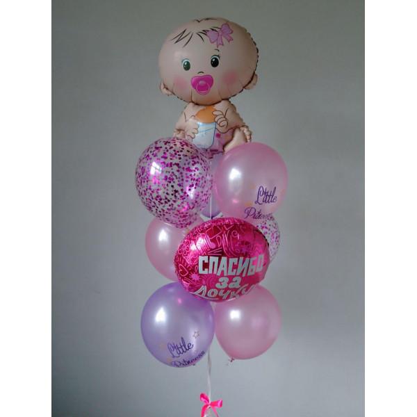 Букет из шаров на выписку девочки