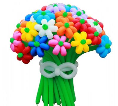 Букет разноцветных ромашек XL
