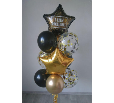 Черно-золотой фонтан с конфетти
