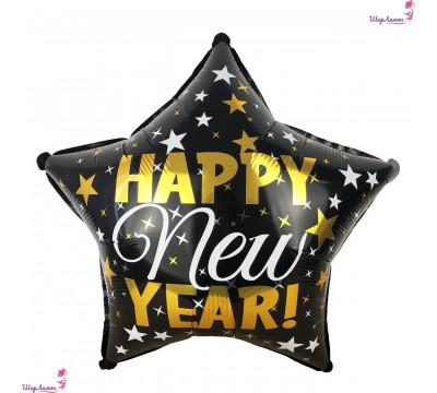 """Фольгированная черная звезда """"Happy New Year"""""""