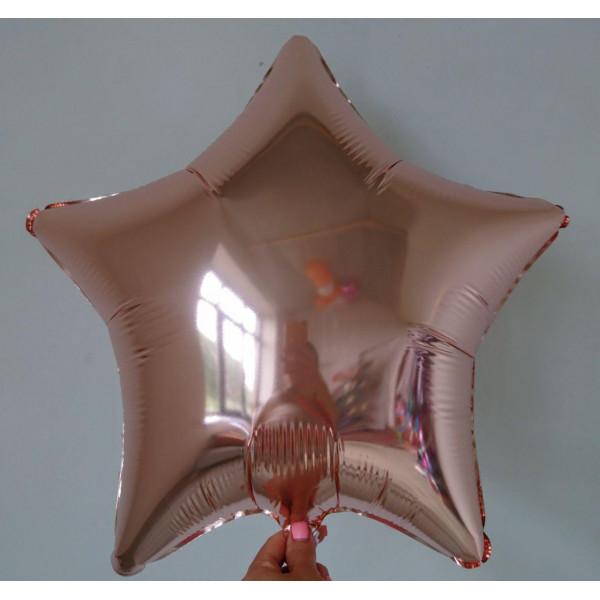 """Фольгированная звезда цвета """"Розовое золото"""", 45 см"""