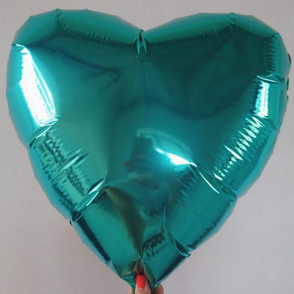 Фольгированное сердце цвета тиффани, 45 см