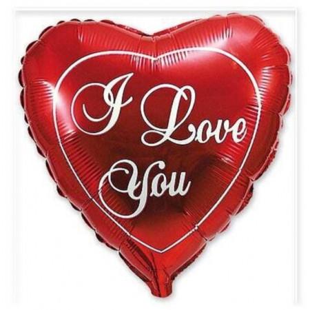 """Фольгированное сердце """"I love you"""""""