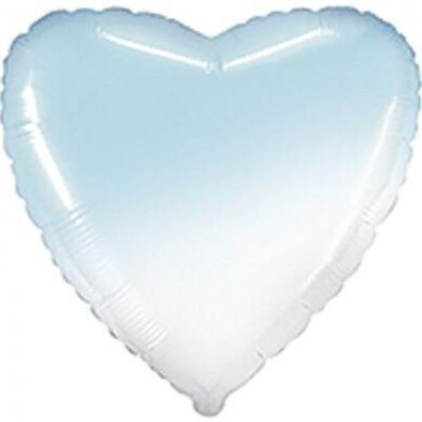 Фольгированное сердце Омбре бело-голубое