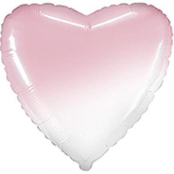 Фольгированное сердце Омбре бело-розовое