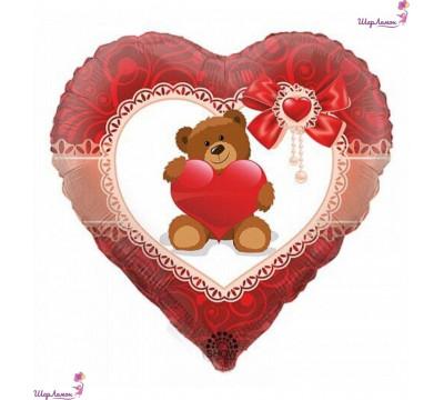 Фольгированное сердце с мишкой на 14 февраля