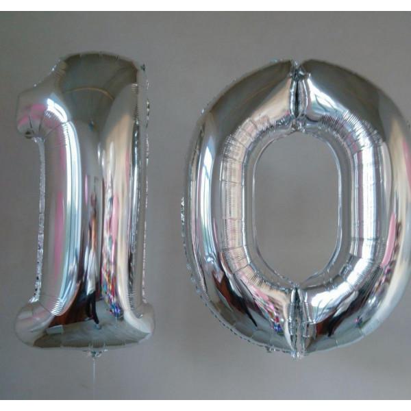 """Фольгированные цифры 10 """"Серебро"""""""
