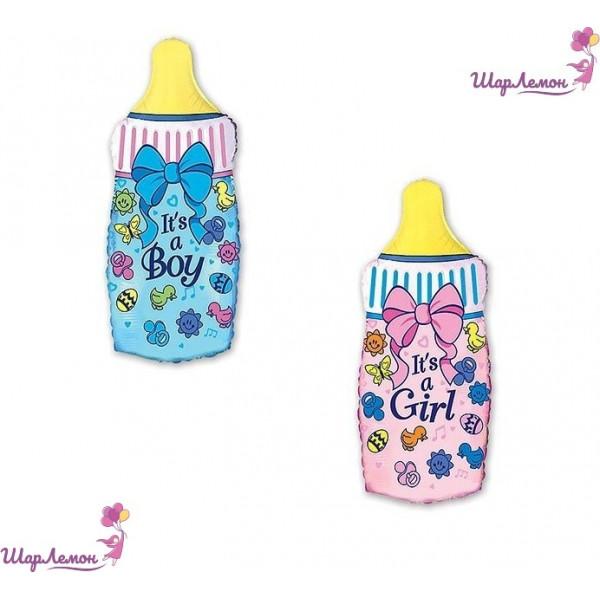 Фольгированный шар бутылка голубая и розовая на выписку из роддома