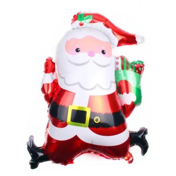 """Фольгированный шар """"Дед Мороз бежит с подарком"""""""