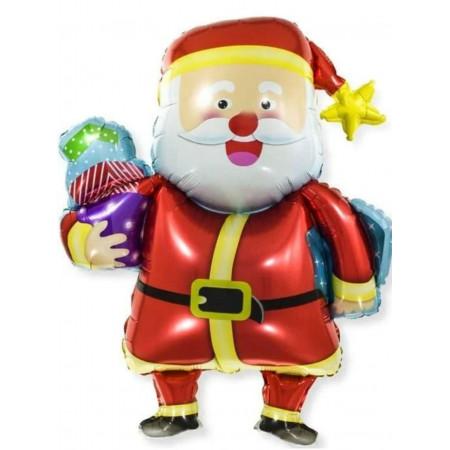 """Фольгированный шар """"Дед Мороз в шапке со звездой"""""""