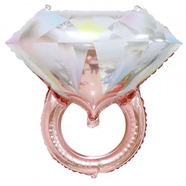 """Фольгированный шар """"Кольцо розовое золото с белым бриллиантом"""""""