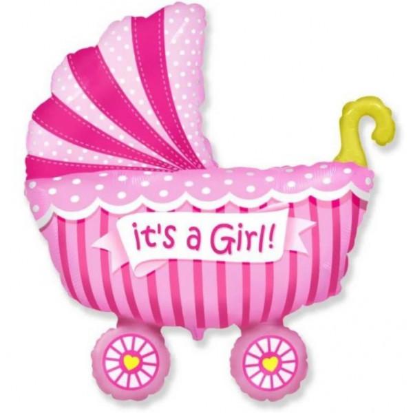 Фольгированный шар коляска, розовая