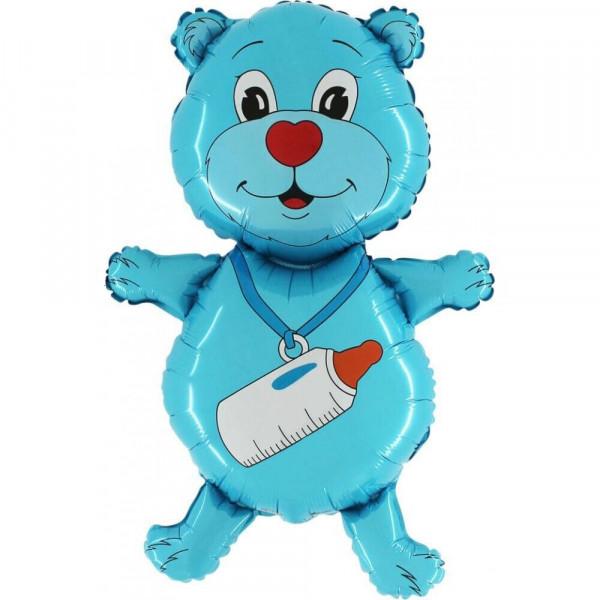 Фольгированный шар мишка с бутылочкой, голубой