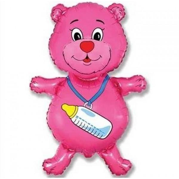 Фольгированный шар мишка с бутылочкой, розовый