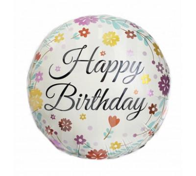 Фольгированный шар с цветами Happy Birthday