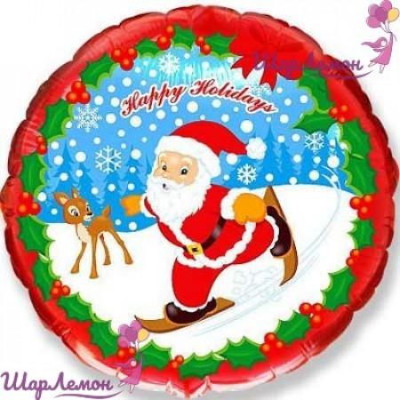 """Фольгированный шар """"Санта на лыжах"""""""