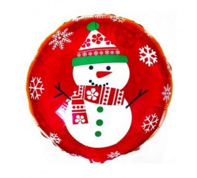 """Фольгированный шар """"Снеговик"""", на красном"""