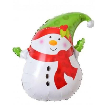 """Фольгированный шар """"Снеговик в зеленой шапке"""""""