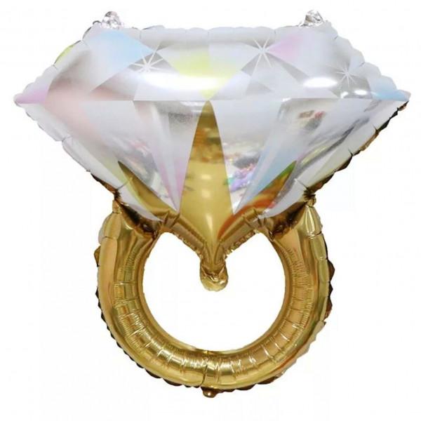 """Фольгированный шар """"Золотое кольцо с белым бриллиантом"""""""