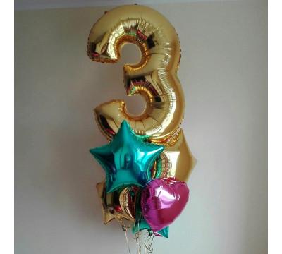 Фонтан из фольгированных шаров с цифрой