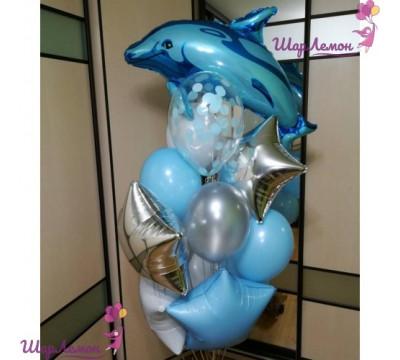 Фонтан из гелиевых шаров с дельфином