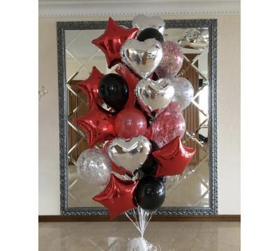 Фонтан из красных, черных и серебряных шаров
