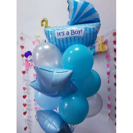 Фонтан из шаров на выписку мальчика