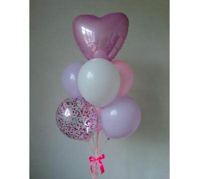 """Фонтан из шаров """"Нежно-розовое сердце"""""""