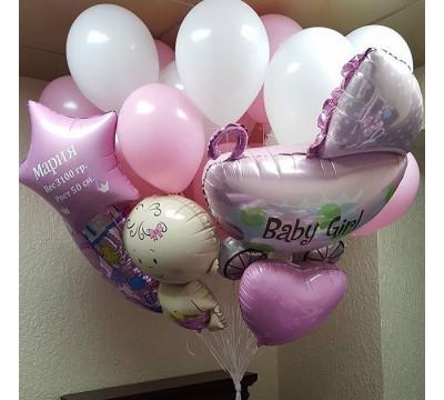 Фонтан из шаров с колясочкой на выписку девочки
