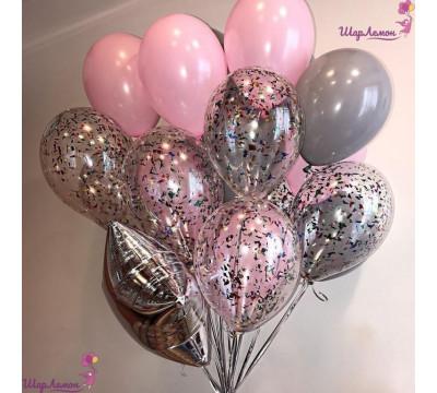 Фонтан с конфетти в розово-серых тонах