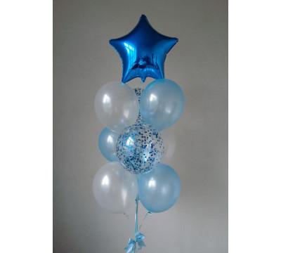 Фонтан с синей звездой и конфетти