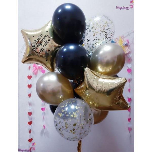 Фонтан с золотыми и черными шарами на День рождения