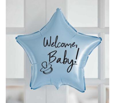 """Голубая фольгированная звезда """"Welcome, Baby!"""", 45 см"""