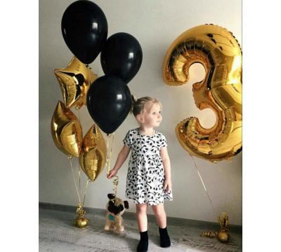 Композиция в черно-золотых тонах девочке на 3 года
