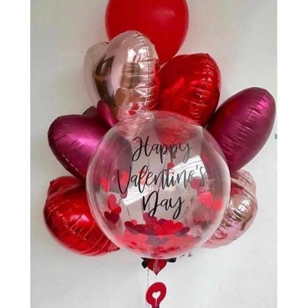 """Композиция из шаров """"Happy Valentine's Day"""""""